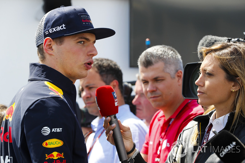 Max Verstappen, Red Bull Racing, speaks to the media