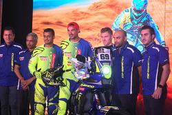 Sherco TVS riders line up: Juan Pedrero Garcia, Aravind KP, Adrien Metge
