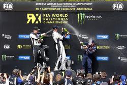 Йохан Кристофферссон, PSRX Volkswagen Sweden, Маттиас Экстрём, EKS Audi Sport, и Себастьен Лёб, Team Peugeot Total