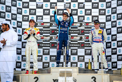 Podio Gara 1: il vincitore della gara Giacomo Altoè, il secondo classificato Mato Homola, il terzo classificato Luca Engstler
