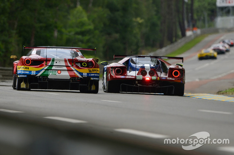 #71 AF Corse Ferrari 488 GTE EVO: Davide Rigon, Sam Bird, Miguel Molina, #69 Ford Chip Ganassi Racing Ford GT: Ryan Briscoe, Richard Westbrook, Scott Dixon