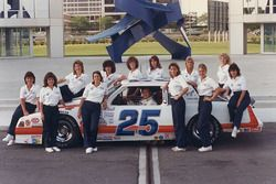 Bill Venturini, Venturini Motorsports with his all-female pit crew in 1987