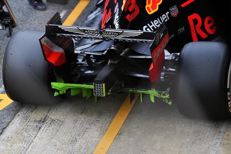 Red Bull Racing RB14 difusor trasero, pintura aerodinámica