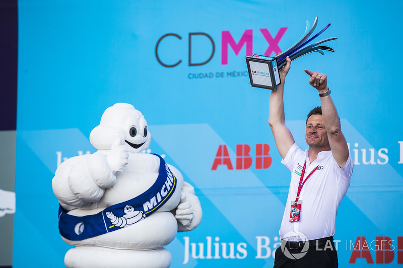Allan McNish, Team Principal, Audi Sport Abt Schaeffler, with the Michelin man