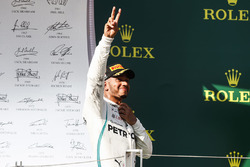 Lewis Hamilton, Mercedes AMG F1, 1st position, arrives on the podium