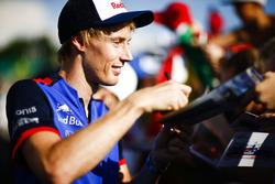 Brendon Hartley, Toro Rosso, firma autógrafos para los fanáticos