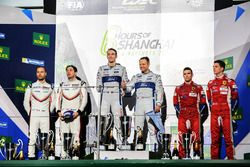 Podium GTE Pro: winners Andy Priaulx, Harry Tincknell, Ford Chip Ganassi Racing, second place Richard Lietz, Frédéric Makowiecki, Porsche GT Team, third place James Calado, Alessandro Pier Guidi, AF Corse