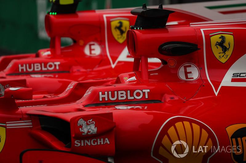 Los coche de Sebastian Vettel, Ferrari SF70H y Kimi Raikkonen, Ferrari SF70H en parc ferme