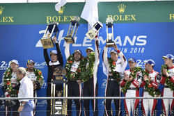 Overall podium: winners Sébastien Buemi, Kazuki Nakajima, Fernando Alonso, Toyota Gazoo Racing, second place Mike Conway, Kamui Kobayashi, Jose Maria Lopez, third place Mathias Beche, Gustavo Menezes, Thomas Laurent, Rebellion Racing