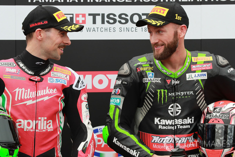 Polesitter Tom Sykes, Kawasaki Racing, second place Eugene Laverty, Milwaukee Aprilia