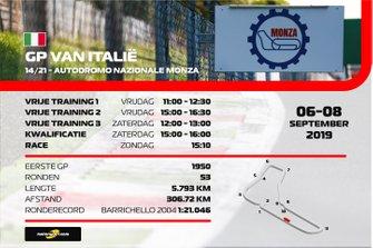 Tijdschema Grand Prix van Italië Formule 1