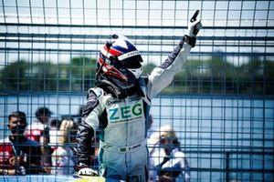 Sérgio Jimenez, Jaguar Brazil Racing celebrates victory in parc ferme