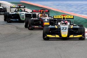 Ye Yifei, Hitech Grand Prix, Liam Lawson, MP Motorsport y Logan Sargeant, Carlin Buzz Racing