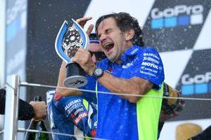 Podio: ganador de la carrera Alex Rins, Team Suzuki MotoGP