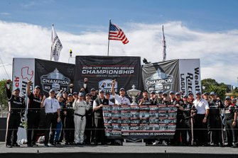 Josef Newgarden, Team Penske Chevrolet and team celebrate winning the championship