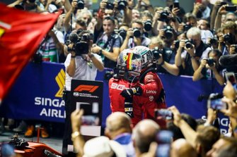Race winner Sebastian Vettel, Ferrari and Charles Leclerc, Ferrari celebrate in Parc Ferme