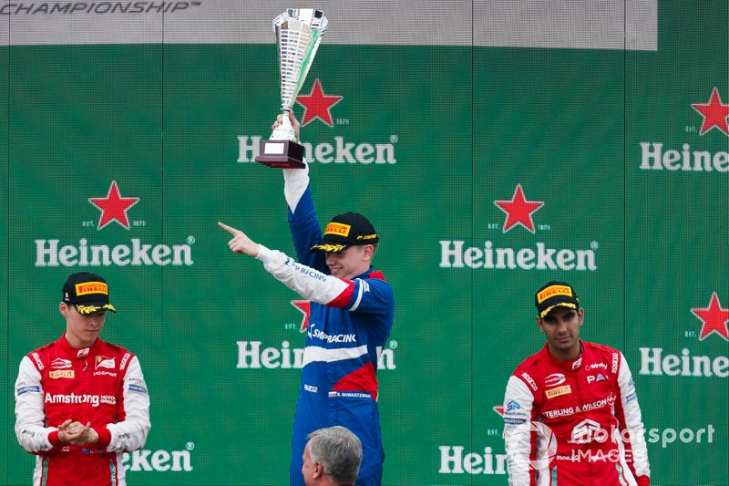 Race winner Robert Shwartzman, PREMA Racing, Marcus Armstrong, PREMA Racing and Jehan Daruvala, PREMA Racing celebrate on the podium