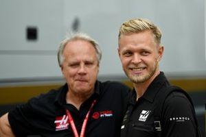 Kevin Magnussen, Haas F1 Team en Gene Haas, eigenaar en oprichter Haas F1 Team