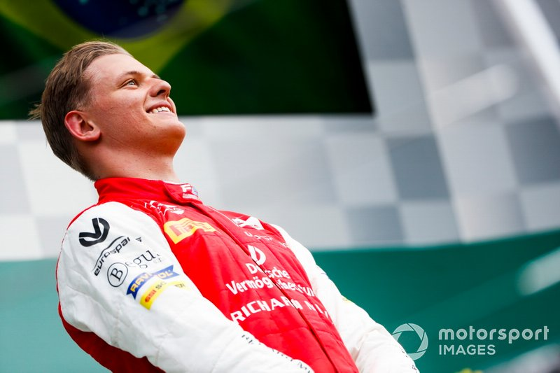 Race winner Mick Schumacher, Prema Racing on the podium