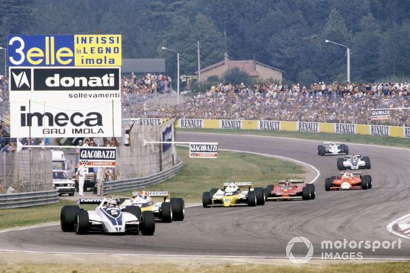 Nelson Piquet, Brabham BT49-Ford Cosworth leads Jean-Pierre Jabouille, Renault RE20, Rene Arnoux h Renault RE20, Gilles Villeneuve, Ferrari 312T5, Bruno Giacomelli, Alfa Romeo 179B, Hector Rebaque, Brabham BT49-Ford Cosworth and Alan Jones Williams FW07B-Ford Cosworth