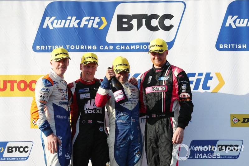 Podium, Rory Butcher, AmD Tuning Honda Civic, Adam Morgan, Cicely Racing Mercades A-Class , Jake Hill, Trade Price Cars Audi and Josh Cook, BTC Racing Honda Civic