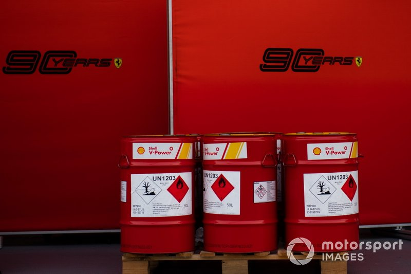 Ferrari Shell fuel drums in the paddock