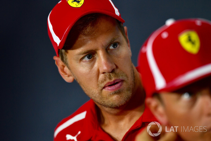 Sebastian Vettel, Ferrari, en rueda de prensa