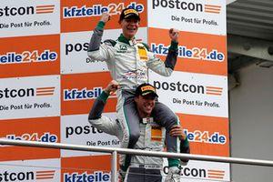 Podium: Winners #28 Montaplast by Land-Motorsport Audi R8 LMS: Sheldon van der Linde, Kelvin van der Linde