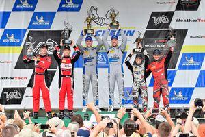 #14 3GT Racing Lexus RCF GT3, GTD - Dominik Baumann, Kyle Marcelli, #58 Wright Motorsports Porsche 911 GT3 R, GTD - Patrick Long, Christina Nielsen, #86 Michael Shank Racing with Curb-Agajanian Acura NSX, GTD - Katherine Legge, Mario Farnbacher, celebrate the win on the podium