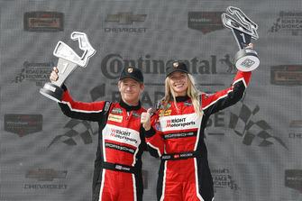 #58 Wright Motorsports Porsche 911 GT3 R, GTD - Patrick Long, Christina Nielsen, #73 Park Place Motorsports Porsche 911 GT3 R, GTD - Patrick Lindsey, Jörg Bergmeister podium