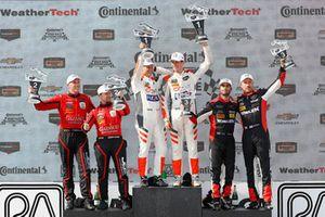#99 JDC/Miller Motorsports ORECA 07, P - Stephen Simpson, Mikhail Goikhberg, #54 CORE autosport ORECA LMP2, P - Jon Bennett, Colin Braun, #31 Action Express Racing Cadillac DPi, P - Eric Curran, Felipe Nasr, podium