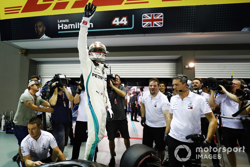 Lewis Hamilton, Mercedes AMG F1 W09 EQ Power+, celebrates after taking Pole Position