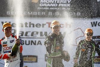 #54 CORE autosport ORECA LMP2, P: Jon Bennett, Colin Braun, #22 Tequila Patron ESM Nissan DPi, P: Pipo Derani, Johannes van Overbeek, #6 Acura Team Penske Acura DPi, P: Dane Cameron, Juan Pablo Montoya, podium, champagne