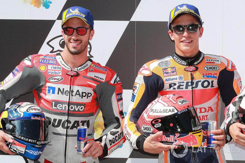 Poleman Marc Marquez, Repsol Honda Team, segundo clasificado Andrea Dovizioso, Ducati Team
