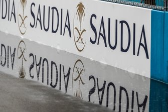 Saudia sponsorship along the track barriers