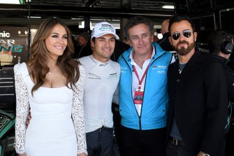 L'attrice Elizabeth Hurley, Nelson Piquet Jr., Jaguar Racing, Alejandro Agag, CEO, Formula E, l'attore Justin Theroux