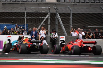 Max Verstappen, Red Bull Racing RB14 and Sebastian Vettel, Ferrari SF71H in Parc Ferme