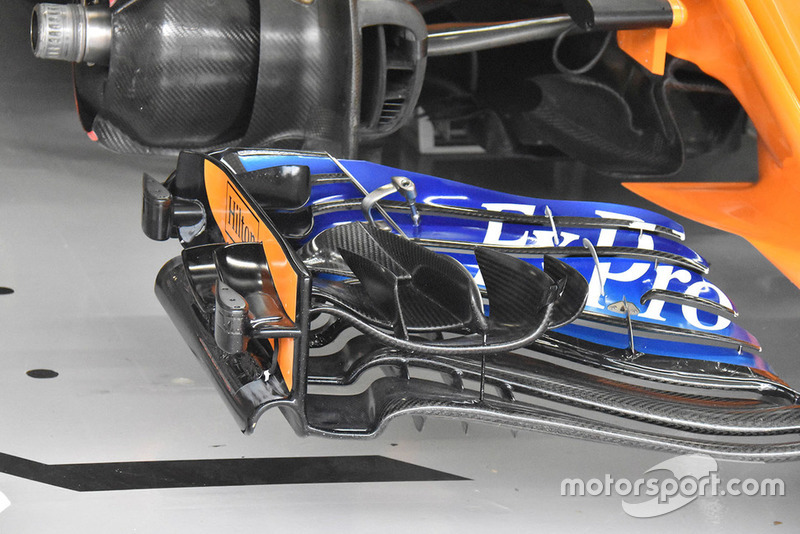 Detalle de alerón delantero McLaren MCL33