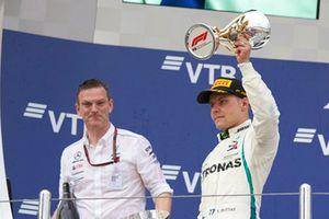 James Allison, Mercedes AMG F1 Technical Director, Valtteri Bottas, Mercedes AMG F1, celebrate on the podium