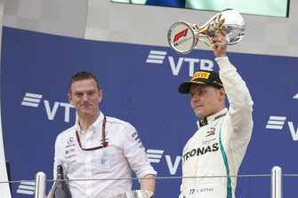James Allison, Mercedes AMG F1 Technical Director, Valtteri Bottas, Mercedes AMG F1, celebrate on the podium