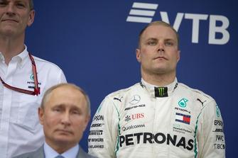 James Allison, Mercedes AMG F1 Technical Director, Valtteri Bottas, Mercedes AMG F1 and Vladimir Putin, President of Russia on the podium