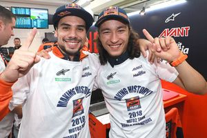Miguel Oliveira, Can Oncu, Red Bull KTM Ajo celebrate