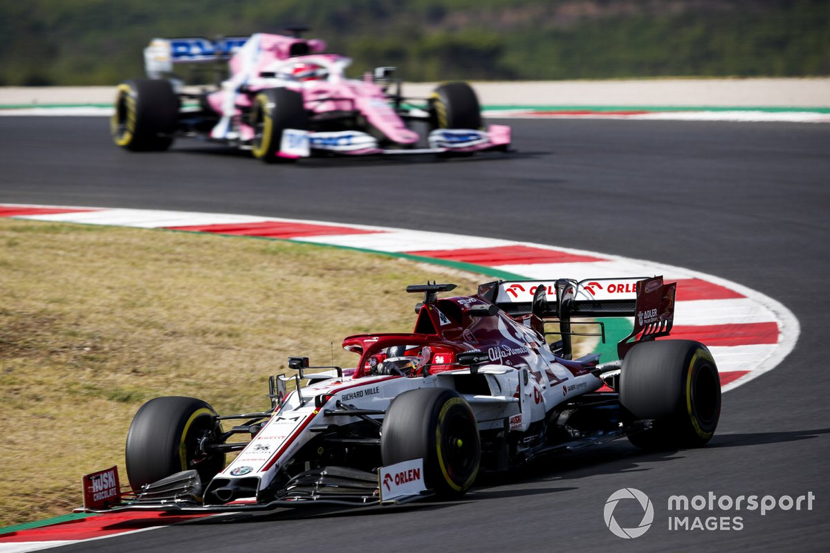 Kimi Raikkonen, Alfa Romeo Racing C39, Sergio Perez, Racing Point RP20