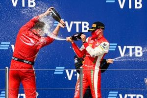 Race Winner Mick Schumacher, Prema Racing and Winning Constructor Representative celebrate on the podium with the champagne