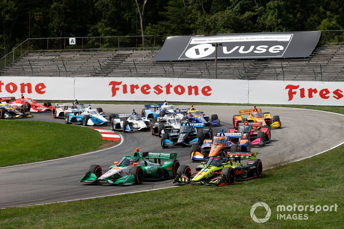 Inicio Felix Rosenqvist, Chip Ganassi Racing Honda, Colton Herta, Andretti Harding Steinbrenner Autosport Honda, chocan