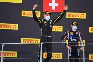 Christian Lundgaard, ART Grand Prix celebrates on the podium with Louis Deletraz, Charouz Racing System