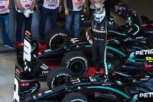 Valtteri Bottas, Mercedes-AMG F1, 1st position, celebrates on arrival in Parc Ferme