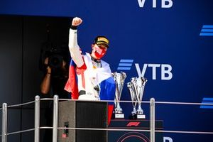 Nikita Mazepin, Hitech Grand Prix celebrates on the podium