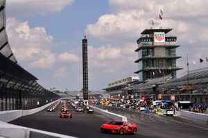 The pace car waits in front of the field before the Indy 500 begins.