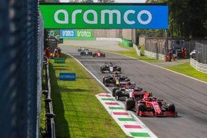 Charles Leclerc, Ferrari SF1000, Antonio Giovinazzi, Alfa Romeo Racing C39, Alex Albon, Red Bull Racing RB16, and Romain Grosjean, Haas VF-20